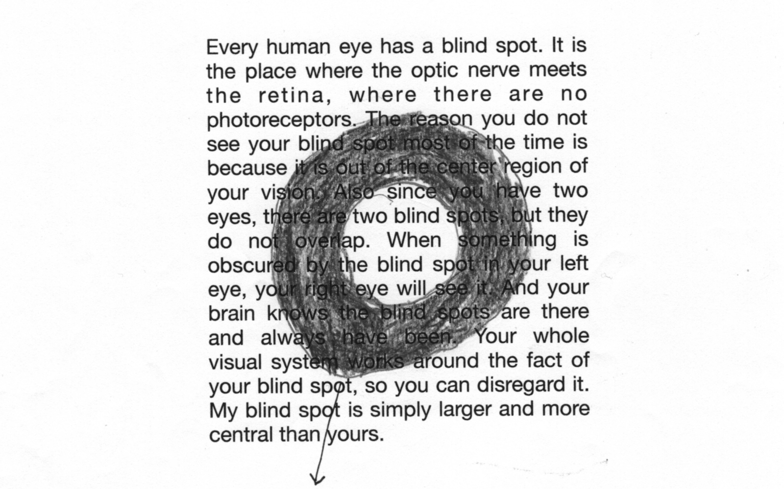 a block of text with a dark gray ring drawn over it